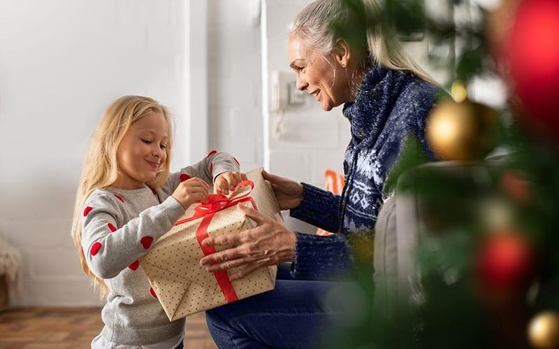 child opening present