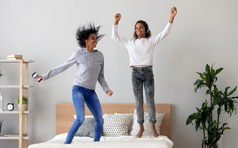 jumping on bed
